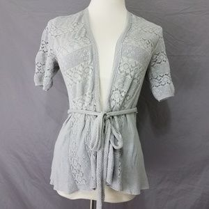 Knitted & Knotted Open Front Cardigan Sz S